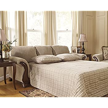 Ashley Furniture Signature Design   Lanett Sleeper Sofa   Queen   3 Seat  Traditional Couch With Sofa Bed Inside   Barley