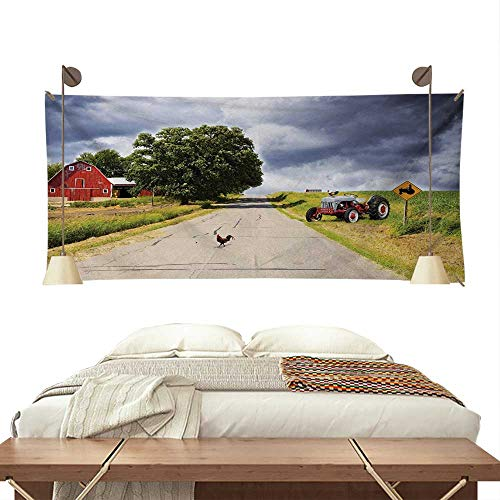 Jinguizi Rural Dormitory Tapestry Farmhouse on The Country Road with Barn and Tractor on Side in Stormy Day PictureArt Tapestry 84W x 70L InchMulticolor