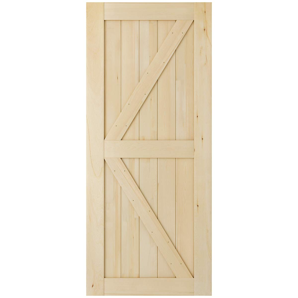 SmartStandard 36in x 84in Sliding Barn Wood Door Pre-Drilled Ready to Assemble, DIY Unfinished Solid Cypress Wood Panelled Slab, Interior Single Door Only, Natural, K-Frame