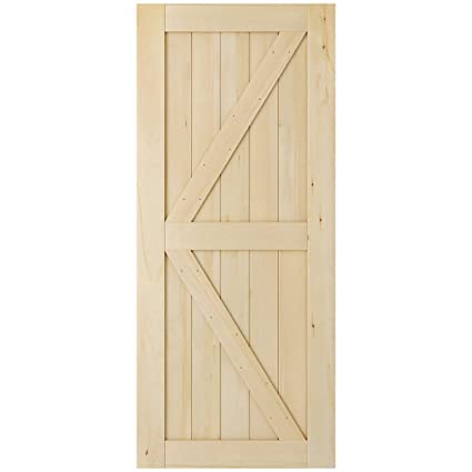 Smartstandard 36in X 84in 2 Panel Wood Interior Barn Door Slab Pre Drilled Ready To Assemble Diy Solid Core Unfinished Cypress Wood Sliding Door