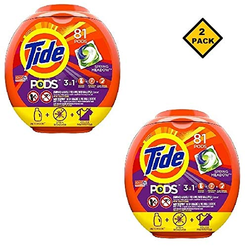 Tide PODS 3 in 1 HE Turbo Laundry Detergent Pacs, Spring Meadow Scent, 81 Count Tub - Packaging May Vary (162 - Pods Meadow