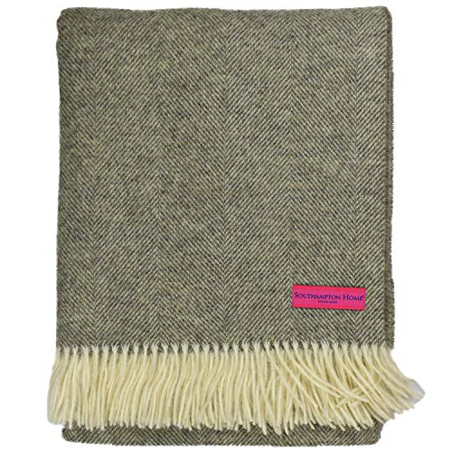 Southampton Home Wool Herringbone Throw (Estate Grey) (Beds Southampton)