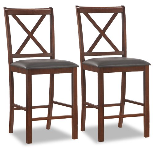 Leick Wood Cross Back Counter Height Stool with Ebony Faux Leather Seat, Set of 2