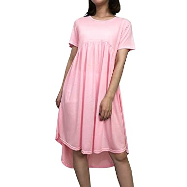 5607e7af0361 FuweiEncore Short Sleeve Round Neck Pocket Ladies Summer Beach Dress Loose  Knee-Length Dresses Solid