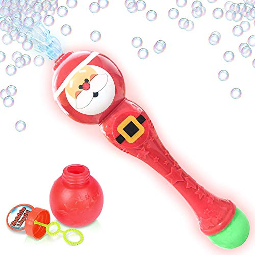 ArtCreativity Light Up Santa Bubble Blower Wand 13.5 Illuminating Bubble Blower w/ Thrilling LED Effect for Kids, Bubble Fluid Included| Gift Idea / Christmas Party Favors