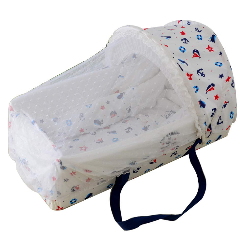 Olpchee Portable Baby Nest/Baby Travel Bed with Mosquito Nets and Awning for Newborns and 0-7 Months Babies (Sea)