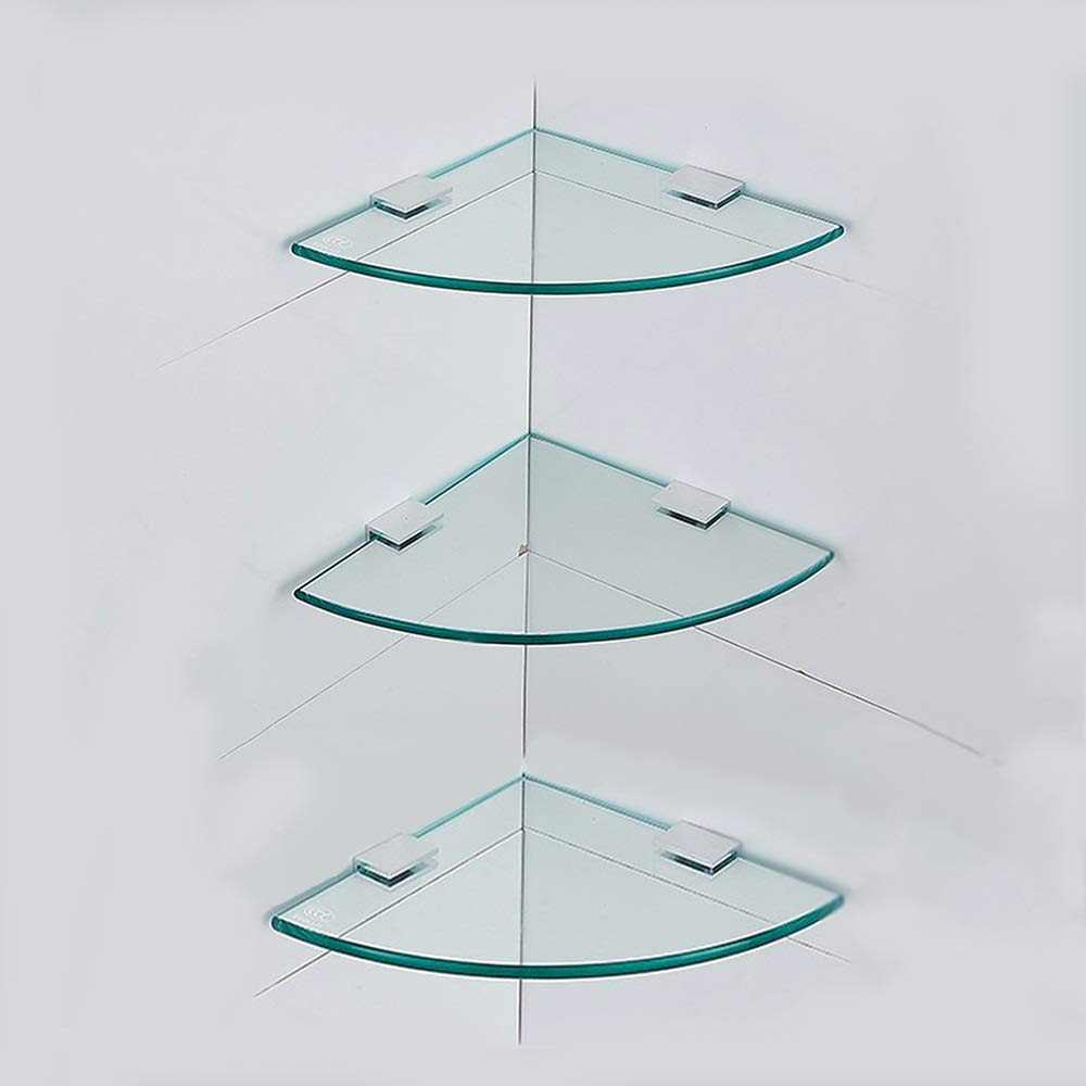 LJJL 強化ガラス棚、シングル/ダブル/ 3層コーナー扇形三脚用バスルームバスルーム用棚18/24/29 Cm (Color : 3-layer, Size : 24cm) B07TDKSFH5 3-layer 24cm