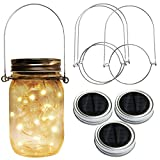 Homeleo 3 Pack Solar Mason Jar Lid Insert w/Stainless Steel Hangers, Solar Powered Warm White LED Fairy Mason Jar String Light Lantern for Summer Yard Garden Patio Path Decoration(Jars NOT Included)