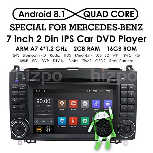 Android 8.1 Quad Core Car in Dash DVD Player GPS Navigation for Mercedes-Benz W169 A150/A160/A170/A180/A200 W245 B160/B170/B180/B200 W639 Vito/Viano W906 Sprinter 2500/3000 VW Crafter 2006 Onwards