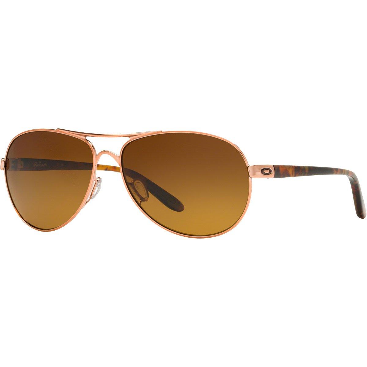 Oakley Women's OO4079 Feedback Aviator Metal Sunglasses, Rose Gold/Brown Gradient Polarized, 59 mm by Oakley