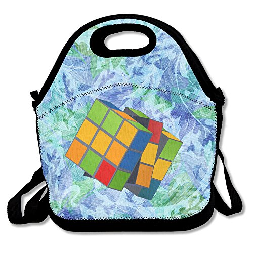 (Melting Puzzle Cube Lunch Bag Adjustable Strap)