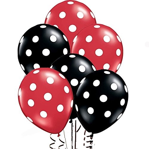 Assorted Black Balloons White Polka product image