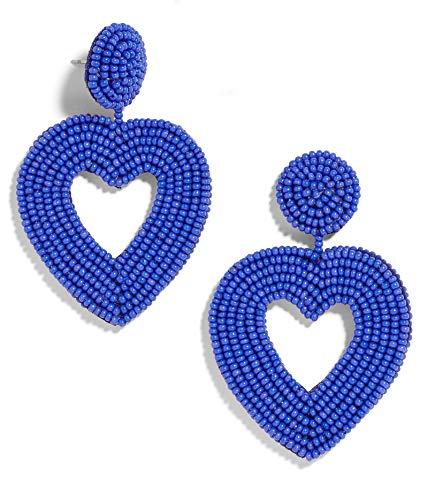 - BEST LADY Statement Beaded Hoop Earrings - Fashion Bohemian Handmade Whimsical Drop Earrings for Women Jewelry, Idear Gifts for Mom, Sisters and Friends (Blue Heart)