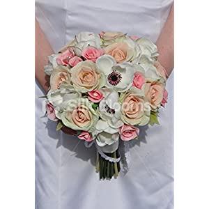 Vintage Inspired Pale Pink Rose and Ivory Anemone Bridal Bouquet with Lace 46