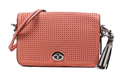 Coach Legacy Perforated Leather Penelope Penny Shoulder Purse 23404 Coral
