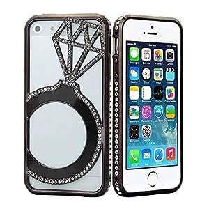 Stylish Durable Bling Rhinestone-studded Design Bumper Frame Back Case Cover Skin for Apple Iphone 5/5s