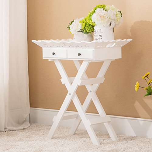 Holi-us Wood Cottage Portable Folding Stand Tray Table Elegant w/Drawers White