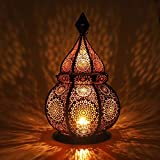 Gadgy  Moroccan Lantern (36 cm) l supports Candles and Electric Lights l Indoors and Outdoors Deco l Wind-resistant l Moroccan Arabian Oriental style l Handmade