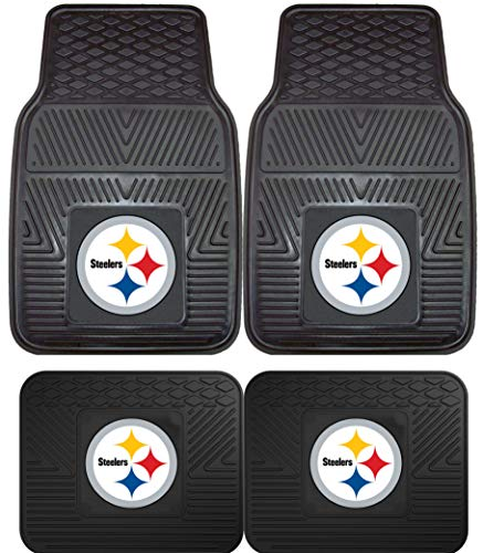 (NFL Pittsburgh Steelers Car Floor Mats Heavy Duty 4-Piece Vinyl - Front and Rear)