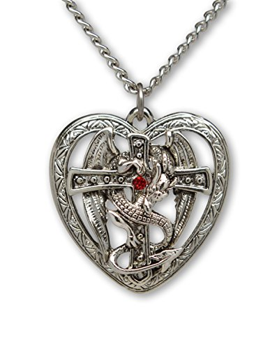 Dragon Tales Costume (Gothic Dragon Surrounding Cross in Heart Pendant Necklace)