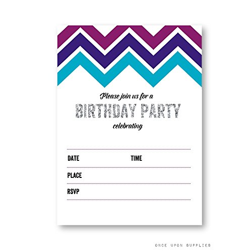 day Party Invitations with Midnight Purple and Navy Chevron Stripes and Silver Glitter, by Once Upon Supplies, 5x7
