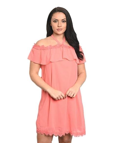C.O.C. Spring Sale Coral Plus Size Dress (XL) at Amazon Women\'s ...