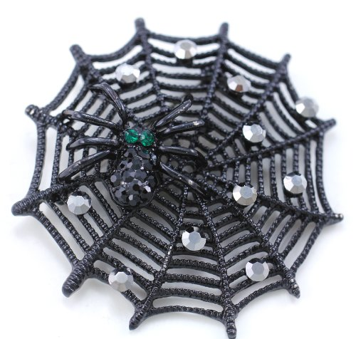 Black Spider Web Pin Brooch Costume Halloween Fashion Jewelry