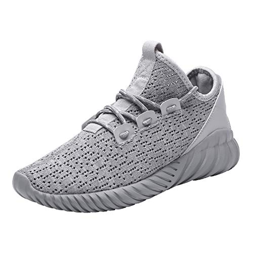 Image of Hetohec Sport Baseball Shoes Knitted Fashion Outdoor Sneakers Lightweight Gym Athletic Shoe Men Trail Workout(1266Gray45)