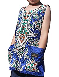 RaanPahMuang Brand Dashiki Childrens Cotton Summer Vest Shirt Intricate Indian Art