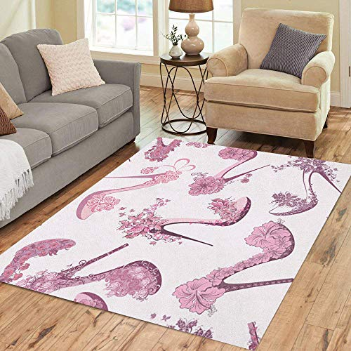 Semtomn Area Rug 5' X 7' Pink Pattern Women Shoes High Heels Flowers and Butterfly Home Decor Collection Floor Rugs Carpet for Living Room Bedroom Dining Room