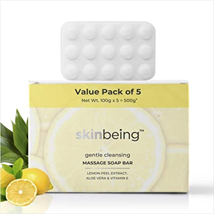 Skinbeing Cleansing Soap Bar with Lemon Peel Extracts, 100g (Value Pack of 5)