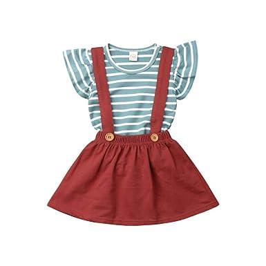 Wang-RX Toddler Kids Baby Girl Top Camiseta Suspender Falda ...