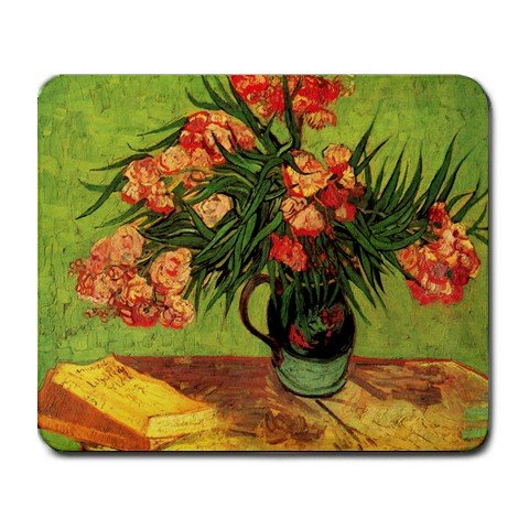 (Still Life Vase with Oleanders and Books By Vincent Van Gogh Mouse Pad)