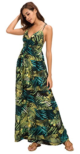 Urban GoCo Mujer Vestido Largo Maxi de Verano Elegante Boho Backless Sundress para Boda Playas Fiesta Noche #3 Verde Oscuro