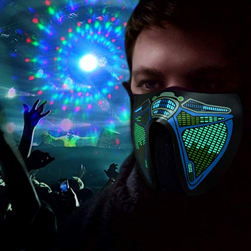HITOP Sound Reactive LED Mask, Luminous Light Up for Men Women Rave Mask Music Sound Activated Mask for Party 2018 Halloween and Any Festival (Yellow Teeth) -