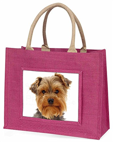 Advanta Süßer Yorkshire Terrier Hund Große Einkaufstasche/Weihnachtsgeschenk, Jute, pink, 42x 34,5x 2cm