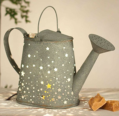 (Stars Watering Can Candle Wax Warmer in Barn Roof Grey Metal Color)