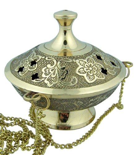 Charcoal Incense Burner Gold Tone over Brass Hanging Censer with Chain - incensecentral.us