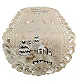 Doily Boutique Christmas Table Runner with Reindeer and Church on Tan Burlap Style Fabric Size 44 x 15 inches