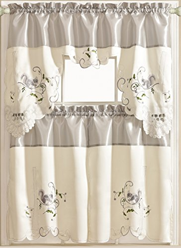 Royal Bedding Squirrel Kitchen Curtain, Luxury Embroidered Kitchen Curtain, 3PC Set, Gray