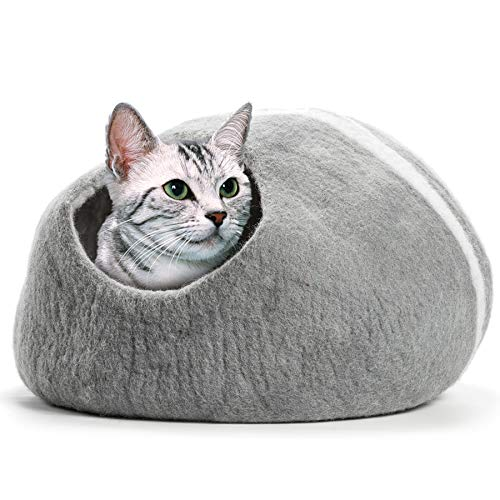 CO-Z Handcrafted Cat Cave Bed (Large), Felted from 100% Natural Wool, Handmade Furniture for Cats and Kittens, Warm and Cozy Cat Bed (Grey) ()