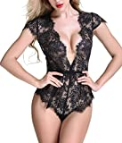Anyou Women Lingerie Lace Teddy Features Plunging Eyelash Snaps Crotch Black Medium