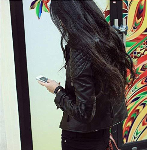 Coreana Chic Monocromo Cute Similpelle Invernali Tasche Laterali Giubbino Pelle Con Slim Cappotto Elegante Cintura Corto Donna Schwarz Antivento Collo Cerniera Outerwear Inclusa In Giacca Fit Y8qznnT