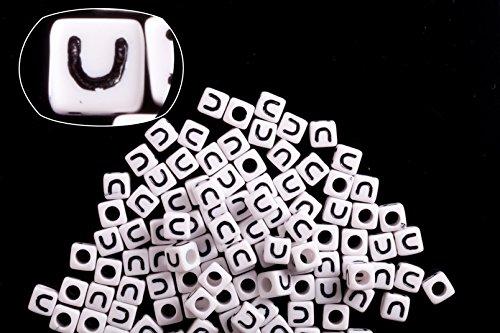 (Letter U white acrylic cube alphabet beads 7mm 50g/209pcs)