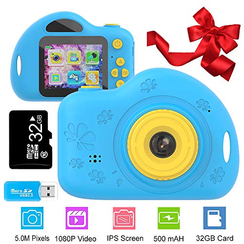 Coodoo Toys for 3-6 Year Old Boys Kids Camera Gifts for Children Compact Cartoon Camcorder with 1080P and 2.0 Inch IPS Screen for Kids Toys Age 4-8(32GB SD Card Included)