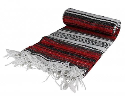 Authentic Mexican Yoga Falsa Blanket (Red)