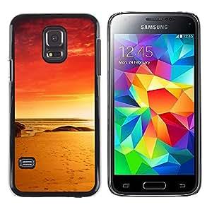 Caucho caso de Shell duro de la cubierta de accesorios de protección BY RAYDREAMMM - Samsung Galaxy S5 Mini, SM-G800 - Red Beach