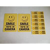 2 Smile Youre On Camera Video Surveillance System Yard Signs & 12 Window Stickers - Stock # 721
