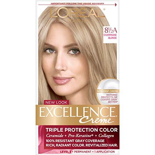 L'Oréal Paris Excellence Créme Permanent Hair Color, 8.5A Champagne Blonde, 1 kit 100% Gray Coverage Hair - Champagne 8.5a