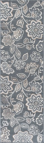 Emmalyn Transitional Floral Gray Runner Rug, 2' x 7'